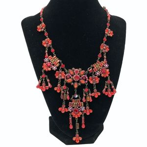 RED CRYSTAL BIB DANGLE NECKLACE